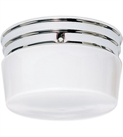 Picture for category Nuvo SF77/343 White Drum Glass Flush Mounts 8in Polished Chrome 2-light