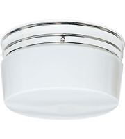 Picture for category Nuvo SF77/344 White Drum Glass Flush Mounts 10in Polished Chrome 2-light