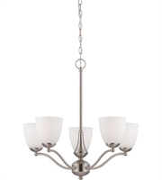 Picture for category Nuvo 60/5035 Patton Chandeliers 25in Brushed Nickel Iron Frosted 5-light