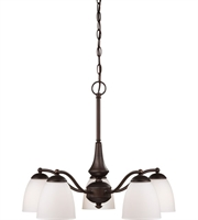 Picture for category Nuvo 60/5143 Patton Chandeliers 25in Prairie Bronze Iron Frosted 5-light