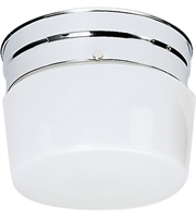 Picture for category Nuvo SF77/342 White Drum Glass Flush Mounts 6in Polished Chrome 1-light