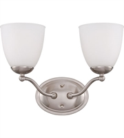 Picture for category Nuvo 60/5032 Patton Wall Lantern 15in Brushed Nickel Iron Frosted 2-light