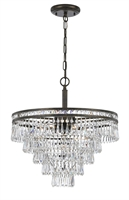 Picture for category Crystorama 5264-EB-CL-MWP Mercer Chandeliers 20in English Bronze 6-light