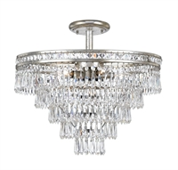 Picture for category Crystorama 5264-OS-CL-MWP_CEILING Mercer Semi Flush 20in Olde Silver 6-light