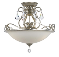 Picture for category Crystorama 5010-OS-CL-MWP Ashton Flush Mounts 17in Olde Silver Steel + Crystal