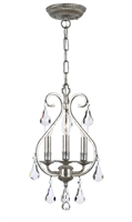 Picture for category Crystorama 5013-OS-CL-MWP Ashton Mini Chandeliers 10in Olde Silver 3-light