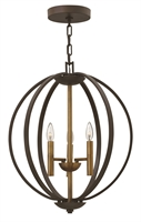 Picture for category Hinkley 3463SB Euclid Chandeliers 20in Spanish Bronze Steel 3-light