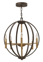 Picture for category Hinkley 3466SB Euclid Chandeliers 22in Spanish Bronze Steel 6-light