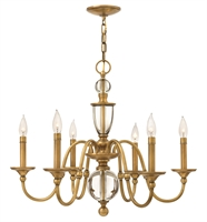 Picture for category Hinkley 4956HB Eleanor Chandeliers 28in Heritage Brass Steel 6-light