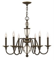 Picture for category Hinkley 4956LZ Eleanor Chandeliers 28in Light Oiled Bronze Steel 6-light