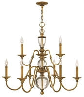 Picture for category Hinkley 4958HB Eleanor Chandeliers 35in Heritage Brass Steel 9-light