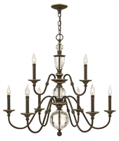 Picture for category Hinkley 4958LZ Eleanor Chandeliers 35in Light Oiled Bronze Steel 9-light