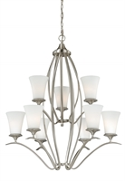 Picture for category Vaxcel H0011 Sonora Chandeliers 33in Satin Nickel Steel 9-light