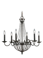 Picture for category Vaxcel H0058 Novara Chandeliers 27in Aged Walnut Steel 6-light