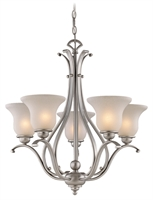 Picture for category Vaxcel CH35405BN Monrovia Chandeliers 26in Brushed Nickel Steel 5-light