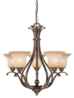 Picture for category Vaxcel CH35405RBZ/B Monrovia Chandeliers 26in Royal Bronze Steel 5-light