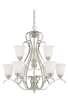 Picture for category Vaxcel H0151 Hartford Chandeliers 30in Satin Nickel Steel 9-light