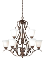 Picture for category Vaxcel H0152 Hartford Chandeliers 30in Weathered Patina Steel 9-light