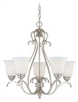 Picture for category Vaxcel H0153 Hartford Chandeliers 25in Satin Nickel Steel 5-light