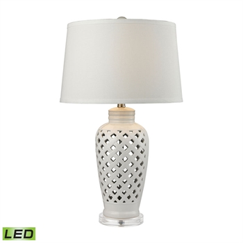 Picture of Dimond D2621-LED Standard Table Lamps 16in White Ceramic Crystal 1-light