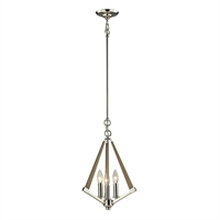 Picture for category Pendants 3 Light With Polished Nickel Finish Candelabra 12 inch 180 Watts - World of Lamp