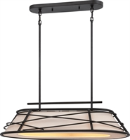 Picture for category Nuvo 62/452 Toro Pendants 30in Dark Bronze Linen Fabric 2-light