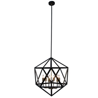 Picture for category Dainolite ARC-226C-AB Archello Chandeliers 22in Matte Black Steel 6-light