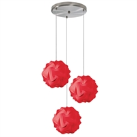 Picture for category Dainolite DBL-3SR-795 Globus Pendants 9in Red Fabric 3-light