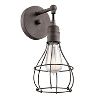 Picture for category Kichler 43603WZC Industrial Cage Wall Sconces 6in Weathered Zinc STEEL 1-light