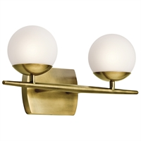 Picture for category Kichler 45581NBR Jasper Bath Lighting 17in Brass Tones STEEL 2-light