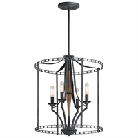 Picture for category Kichler 43420DBK Clague Pendants 18in Black Tones STEEL 4-light