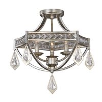 Picture for category Uttermost 22275 Tamworth Semi Flush 18in Iron k9 crystal 3-light