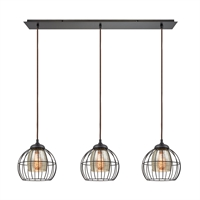Picture for category Elk 14245/3LP Yardley Pendants 36in Bronze Tones Metal Glass 3-light