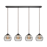 Picture for category Elk 14245/4LP Yardley Pendants 46in Bronze Tones Metal Glass 4-light