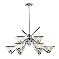 Picture for category Elk 1476/6+3 Refraction Chandeliers 31in Chromes Tones Metal Glass 9-light