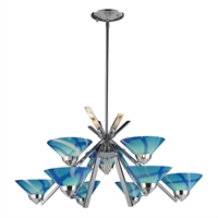 Picture for category Elk 1476/6+3CAR Refraction Chandeliers 31in Chromes Tones Metal Glass 9-light
