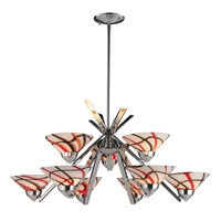 Picture for category Elk 1476/6+3CRW Refraction Chandeliers 31in Chromes Tones Metal Glass 9-light