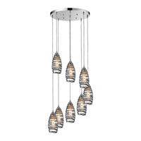Picture for category Elk 31338/8R-VINW Twister Pendants 18in Chromes Tones Metal.Glass 8-light