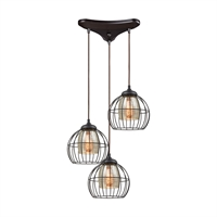 Picture for category Elk 14245/3 Yardley Pendants 20in Bronze Tones Metal Glass 3-light
