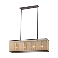 Picture for category Elk 57028/4 Diffusion Chandeliers 9in Bronze Tones Metal Glass Fabric 4-light