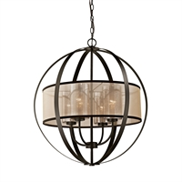 Picture for category Elk 57029/4 Diffusion Chandeliers 24in Bronze Tones Metal Glass Fabric 4-light