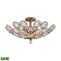 Picture for category Elk 11932/8-LED Evolve Semi Flush 24in Weathered Zinc Metal Crystal 8-light