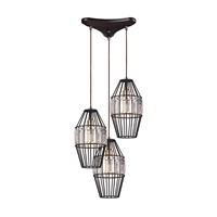 Picture for category Elk 14248/3 Yardley Pendants 17in Bronze Tones Metal Crystal 3-light