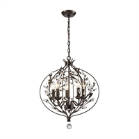 Picture for category Elk 18136/5 Circeo Chandeliers 16in Deep Rust Metal Crystal 5-light