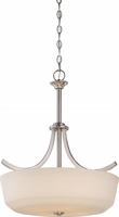 Picture for category Nuvo 60/5827 Laguna Pendants 20in Brushed Nickel Glass White Glass 4-light