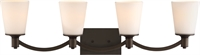 Picture for category Nuvo 60/5974 Laguna Vanity Lighting 33in Aged Bronze Glass White Glass 4-light
