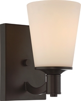 Picture for category Nuvo 60/5921 Laguna Wall Lantern 5in Aged Bronze Glass White Glass 1-light