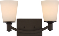 Picture for category Nuvo 60/5922 Laguna Wall Lantern 16in Aged Bronze Glass White Glass 2-light