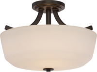 Picture for category Nuvo 60/5926 Laguna Ceiling Medallion Lighting 15in Aged Bronze Glass 2-light