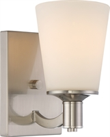 Picture for category Nuvo 60/5821 Laguna Wall Lantern 5in Brushed Nickel Glass White Glass 1-light